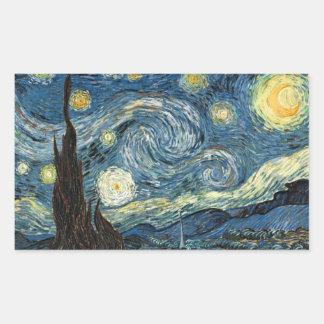 Vangogh Starry Night Rectangular Stickers