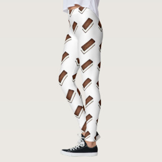 Vanilla Chocolate Ice Cream Sandwich Food Leggings