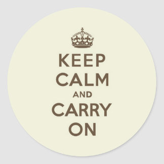Vanilla Chocolate Keep Calm and Carry On Round Sticker