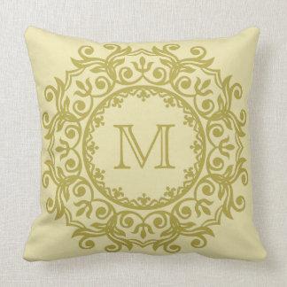 Vanilla Cream and Brass Scroll Wreath Monogram Throw Pillow