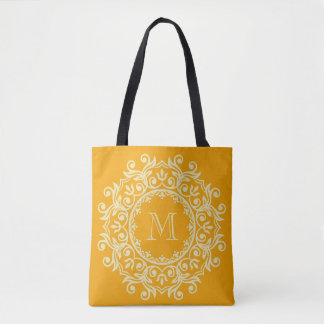 Vanilla Cream and Pumpkin Scroll Wreath Monogram Tote Bag