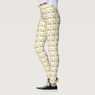 Vanilla Cream Puff Puffs Pastry Dessert Leggings