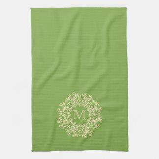 Vanilla Cream Scroll Wreath Monogram on Leaf Green Hand Towels