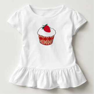 Vanilla cupcake with a strawberry toddler t-shirt