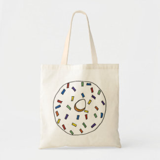 Vanilla Donut Doughnut w/ Rainbow Sprinkles Tote