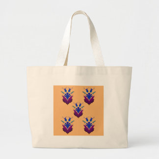 VANILLA handdrawn Ethno Flowers / Original design Large Tote Bag