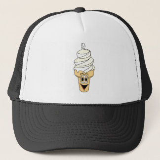 Vanilla Ice Cream Cone Cartoon Trucker Hat