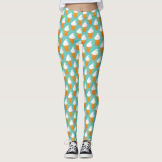 Vanilla Ice Cream Cone Pattern Leggings