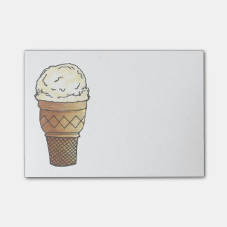 Vanilla Ice Cream Cone Scoop Sweet Foodie Post Its Post-it Notes