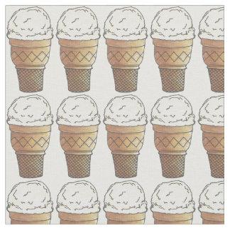 Vanilla Ice Cream Icecream Cake Cones Fabric