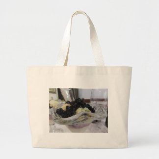 Vanilla ice cream with uncultivated bilberries large tote bag