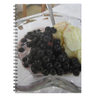 Vanilla ice cream with uncultivated bilberries spiral notebook