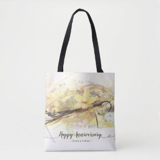 Vanilla Orchid Flower Abstract Art Calligraphy Tote Bag