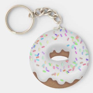 Vanilla sprinkled donut bakery button basic round button keychain