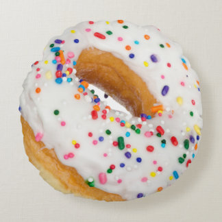 Vanilla Sprinkles Donut Novelty Round Pillow