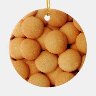 Vanilla Wafer Cookie Pattern - Sweet Dessert Prin Ceramic Ornament