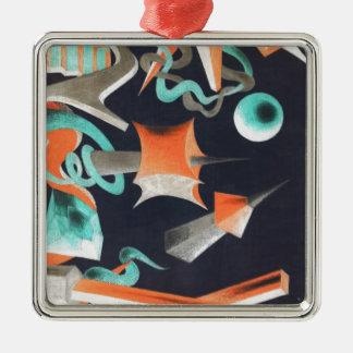Vanishing Shapes I Silver-Colored Square Ornament