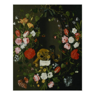 Vanitas Still Life with Flowers Poster