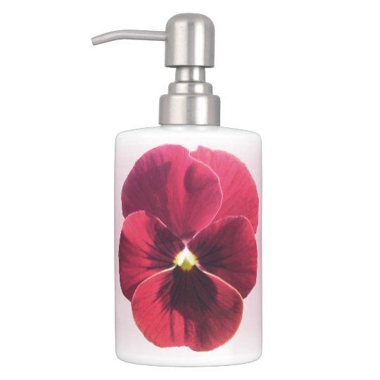 Vanity Set - Dark Red Pansy Soap Dispensers