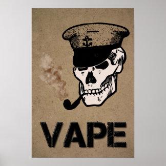 Vape Skull Smoke Grunge Poster