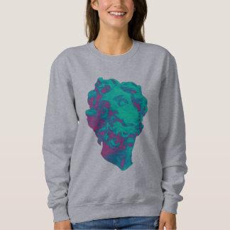 Vaporwave Aesthetic Glitch Statue Women Sweatshirt