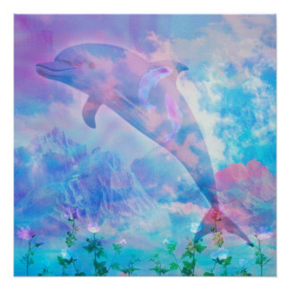Vaporwave dolphin in the sky poster