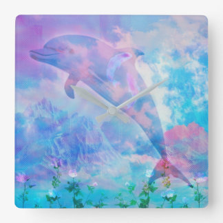 Vaporwave dolphin in the sky square wall clock