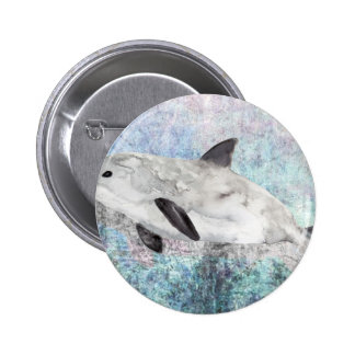 Vaquita River Dolphin Endangered Animal Painting 2 Inch Round Button