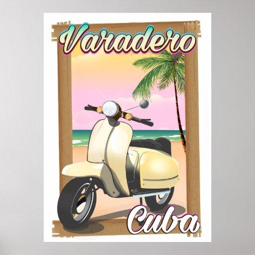Varadero Cuban vintage scooter poster