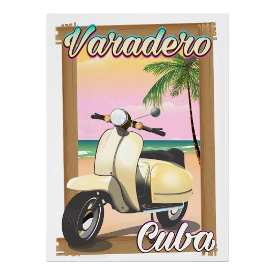 Varadero Cuban vintage scooter poster