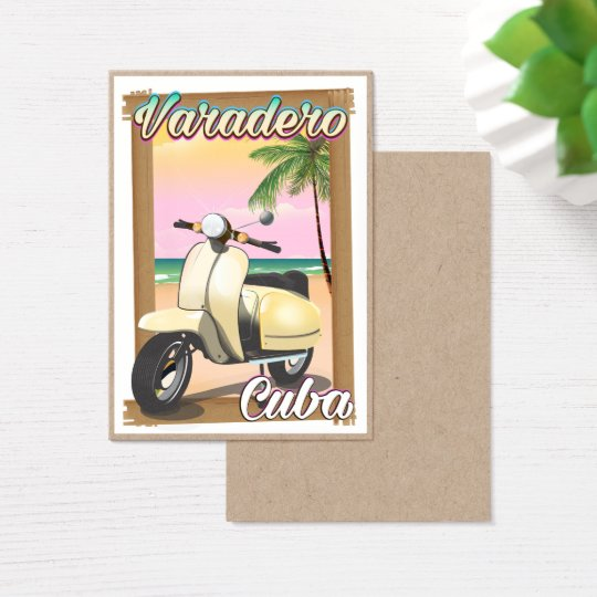 Varadero Cuban vintage scooter poster Business Card