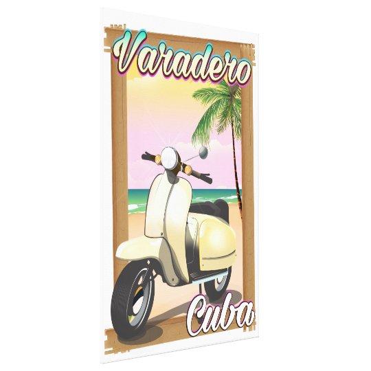 Varadero Cuban vintage scooter poster Canvas Print