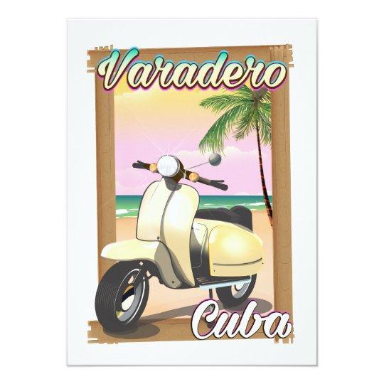 Varadero Cuban vintage scooter poster Card