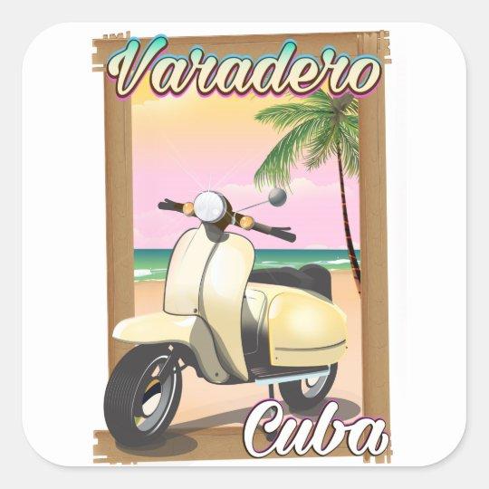 Varadero Cuban vintage scooter poster Square Sticker