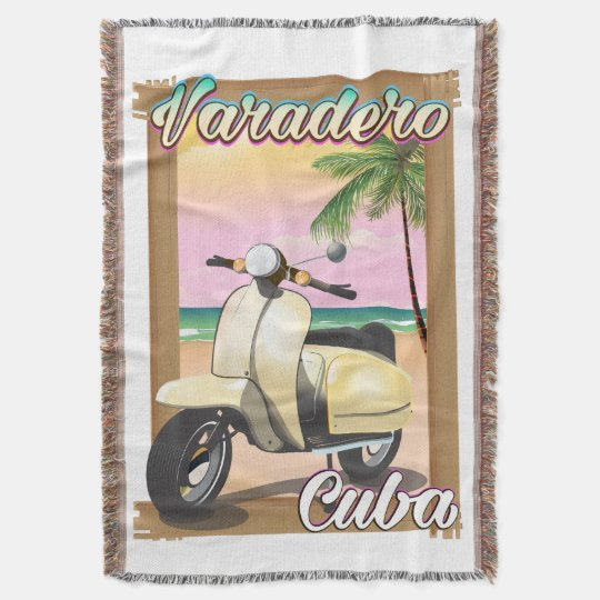 Varadero Cuban vintage scooter poster Throw Blanket