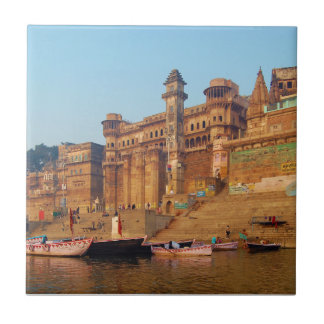 Varanasi India As Seen From Ganga River Tile