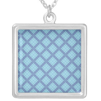 Variation Blue Plaid Silver Plated Necklace
