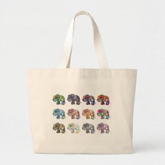 Variations of folk art ornamental elephant parade large tote bag