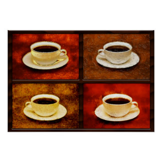 Variations on a Cup of Coffee -4 Different Styles Poster