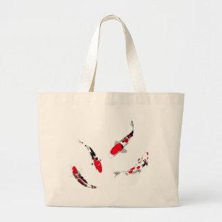 Varicolored carps large tote bag