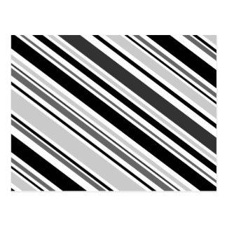 Varied Diagonal Gray, Black, White Stripes Postcard