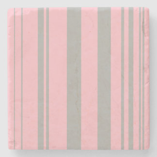 Varied Stripes/Pink & Grey Stone Coaster