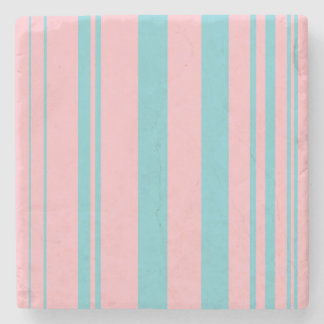 Varied Stripes/Pink & Robin Egg Blue Stone Coaster