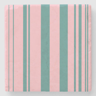 Varied Stripes/Pink & Teal Stone Coaster