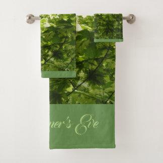Variegated Maple Leaves for Midsummer's Eve Bath Towel Set