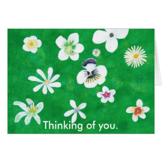 Variety of White Flowers Thinking of you Cards