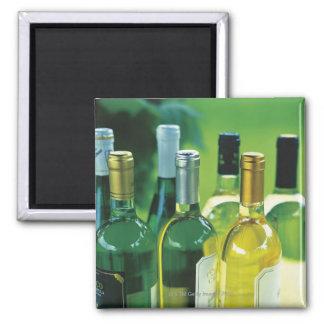 Variety of wine bottles square magnet