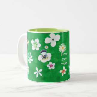 Variety White Flowers I love you Mom Mugs