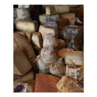 Various cheeses on market stall, full frame poster