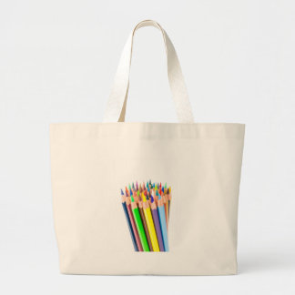 Various colered crayons standing upright large tote bag